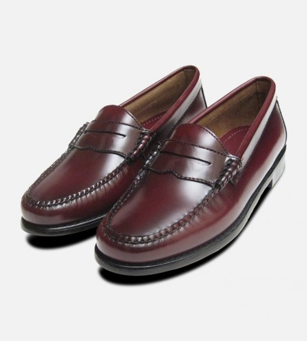 Ladies Burgundy Leather Bass Loafers