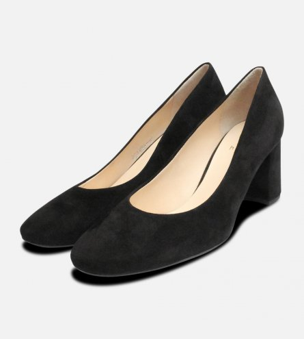 Black Suede Hogl Ladies Block Heel Shoes