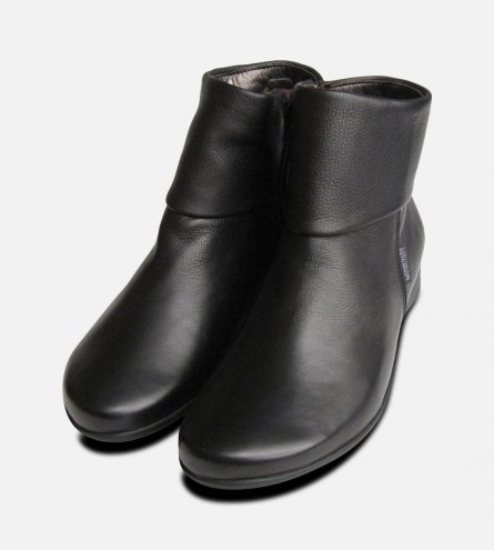 Mephisto Ladies Fiducia Black Leather Zip Boots