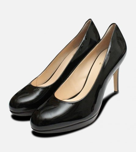 Black Patent High Heel Ladies Shoes by Hogl
