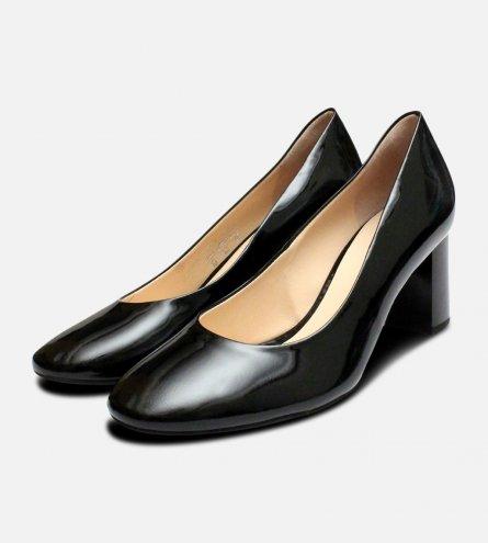 Hogl Designer Black Patent Ladies Block Heel Shoes