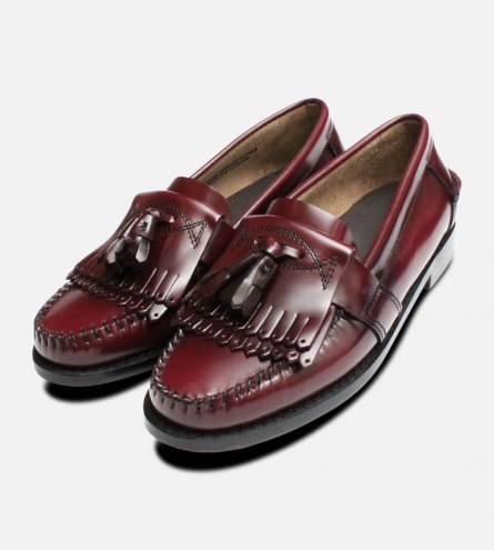 Oxblood Ladies Double Fringe Tassel Loafer Shoes