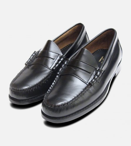 Classic Mens Black Polished Larson Penny Loafers GH Bass Weejuns