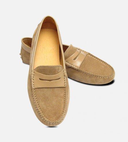 Beige Suede & Patent Arthur Knight Ladies Italian Driving Shoe Moccasins
