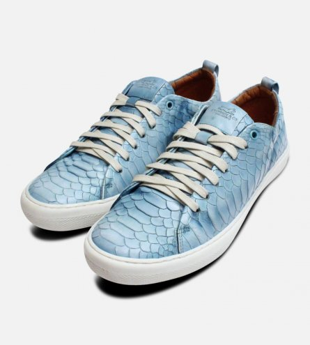 Light Blue Crocodile Anatomic & Co Leather Trainers