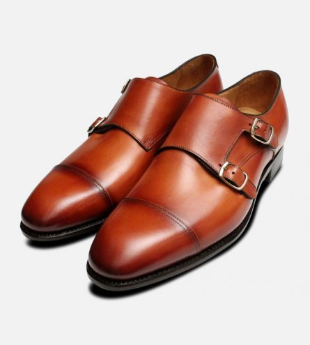 Carlos Santos Double Buckle Monk Strap in Antique Tan