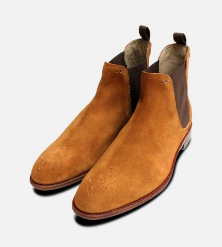 Light Brown Suede Chelsea Boot Brogues Oliver Sweeney