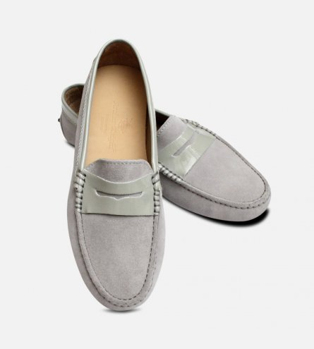 Light Grey Suede Italian Arthur Knight Driving Shoes