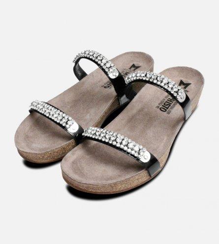 Crystal Ivana Black Patent Mephisto Sandals