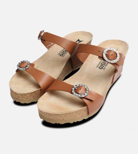 Ladies Lidia Camel Brown Mephisto Sandals