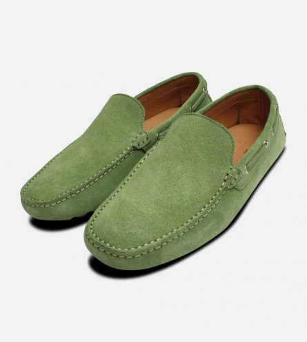 Mint Green Arthur Knight Mens Suede Driving Shoes