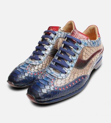 Multi Colour Luxury Italian Designer Snakeskin Shoes