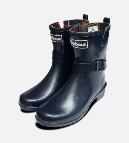 Barbour Biker Buckle Wellington Boots in Navy Blue