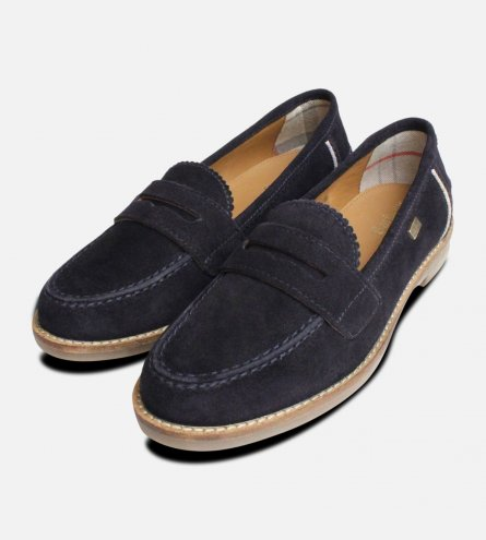 Barbour Briony Loafers in Navy Blue Suede