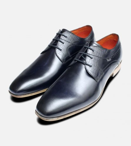 Royal Navy Blue Leather Dress Shoes by Bugatti