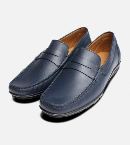 Luxury Navy Blue Italian Moccasins by Arthur Knight Shoes