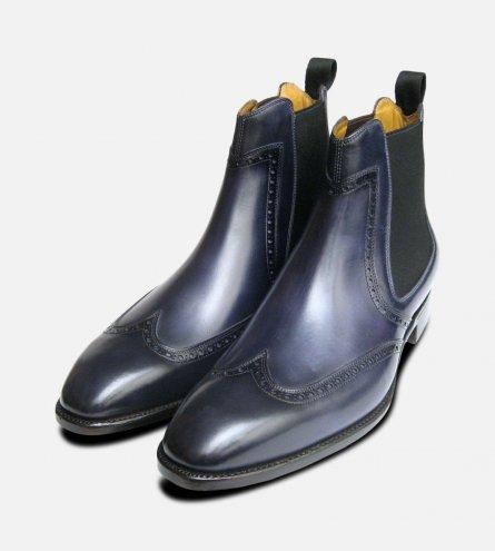 Carlos Santos Conquer Luxury Blue Chelsea Boots