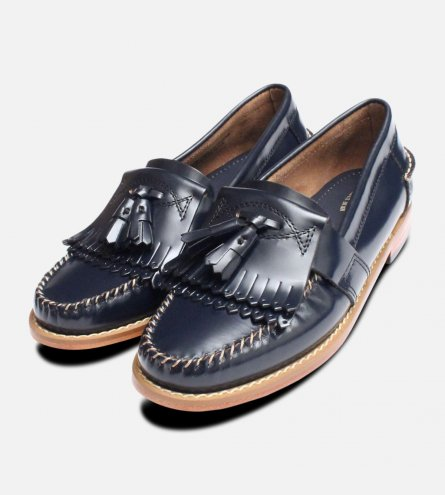 Navy Blue Ladies Double Fringe Bass Loafer Shoes