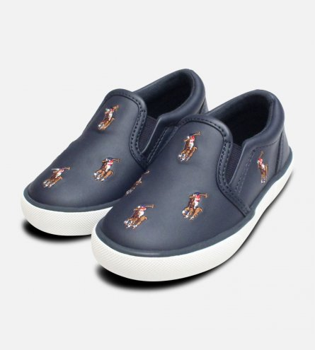 Navy Blue Ralph Lauren Polo Bal Harbour Childrens Shoe