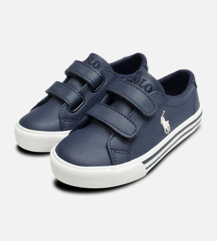 Navy Blue Ralph Lauren Polo Kids Slater EZ Shoes