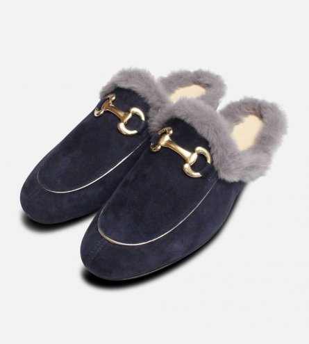 Velvet Fur Italian Backless Loafers in Navy Blue