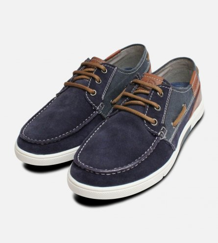 Navy Blue Mens Boat Shoes by Bugatti