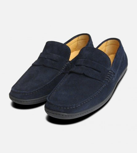 Navy Blue Suede Rubber Driving Shoes