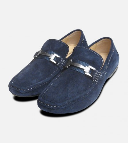 Designer Navy Blue Suede Loafers by Steptronic Delta Shoes