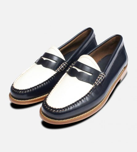 Navy Blue & White Leather Ladies Bass Shoe Loafers