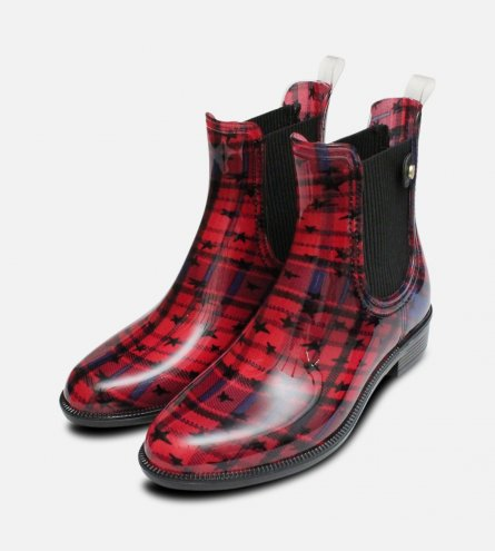 Red Iconic Odette Tommy Hilfiger Ladies Rubber Wellies