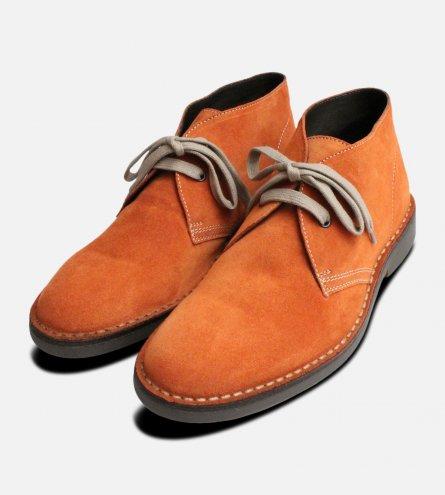 Burnt Orange Suede Italian Mens Desert Boots