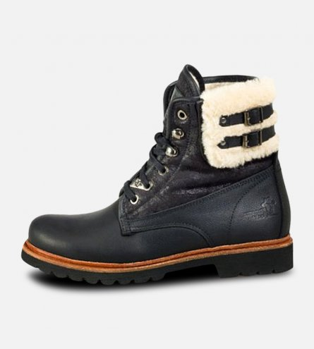Ladies Black Panama Jack General Aviator Cotton Lined Fur Boots