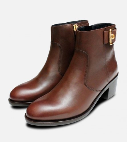 Coffee Brown Tommy Hilfiger Parson Buckle Boots