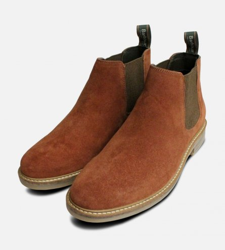 Barbour Penshaw Rust Suede Chelsea Boots for Men