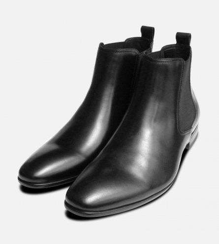Formal Black John White Chelsea Boot with Rubber Sole