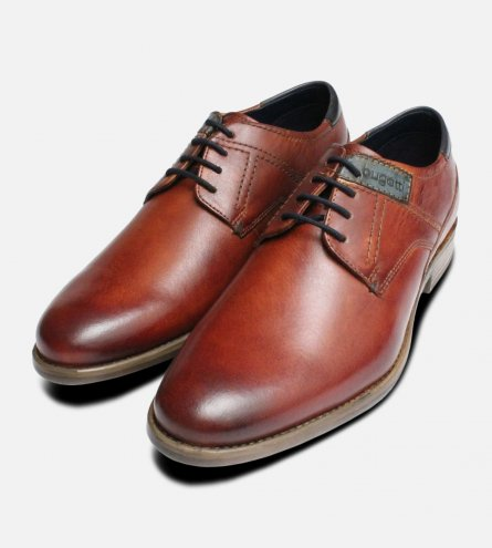 Tan Leather Lace Up Designer Shoes by Bugatti