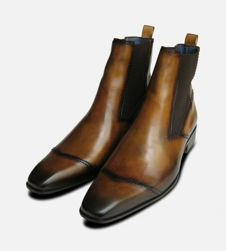 Tan Leather Bison Chelsea Boots by Exceed