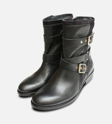 Gold Buckle Tommy Hilfiger Polly Biker Boots in Black