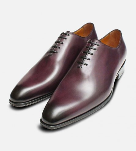 Aubergine Purple Mens Wholecut Oxford Shoes