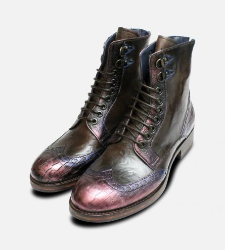 Metallic Purple & Dark Brown Designer Italian Boots