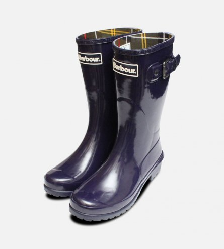 Purple Barbour Short Wellington Primrose Boots