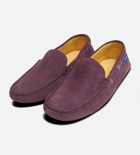 Mens Purple Suede Driving Shoes by Arthur Knight