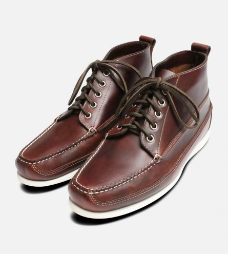 Bass Ranger Brown Pull Up Boat Shoe Demi Boot