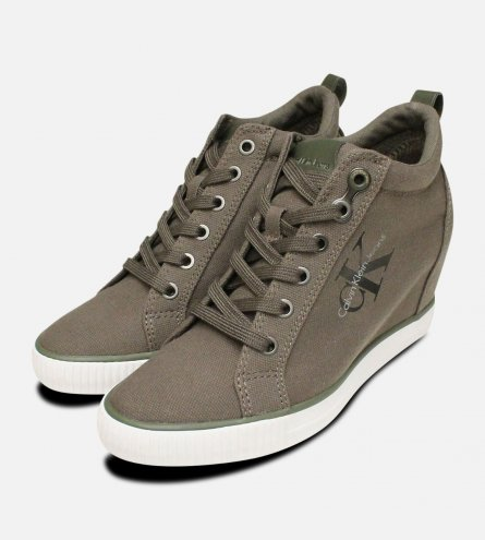 Military Green Canvas Ritzy Heel Calvin Klein Trainer