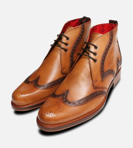 Jeffery West Round Toe Brogue Chukka Boots for Men