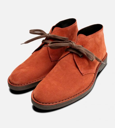 Rust Suede Italian Mens Designer Desert Boots