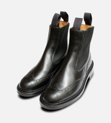 Black Brogue Ladies Chelsea Boots Silvia Trickers