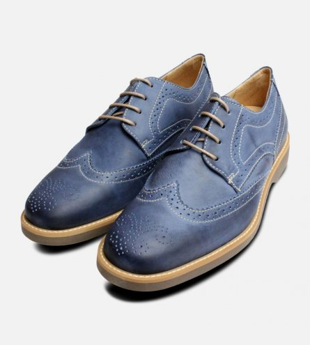 Sky Blue Leather Mens Brogues by Anatomic Shoes