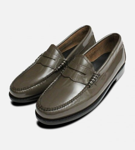 State Grey Patent Leather Bass Slip On Shoes