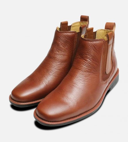 Square Toe Steptronic Aston Chelsea Boots in Tan